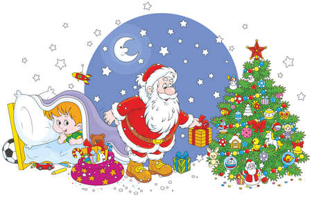 La notte prima di Natale, Babbo Natale che mette i suoi regali di festa sotto un albero decorato per un bambino che spiare dietro di lui da sotto una coperta Vettoriali