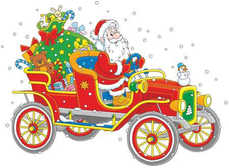 Babbo Natale alla guida della sua vecchia auto con un grande sacco di regali di Natale