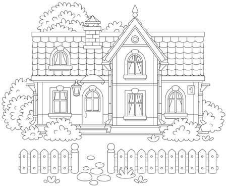 casa e un cortile con una recinzione, alberi e cespugli