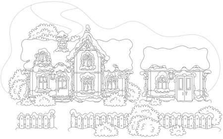 Casa innevata di Babbo Natale e della sua bottega al Nord