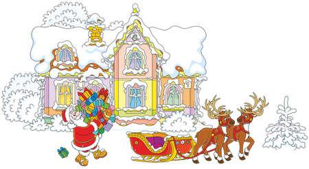 Babbo Natale porta un mucchio di regali di Natale ad una slitta con renne sullo sfondo della sua casa