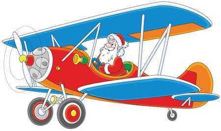 Santa Claus piloting his old wood airplane Illustration