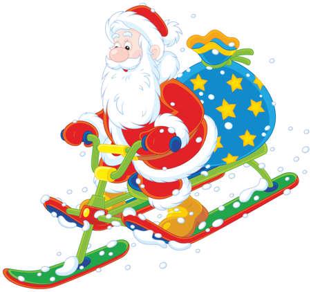 Babbo Natale con il suo sacco di regali di Natale scivolare giù per la collina di neve su una neve scooter Vettoriali