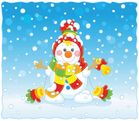 Christmas card with a funny snowman friendly smiling and ringing a small bell, wearing a colorful scarf, a cap and mittens, on a background of falling snow