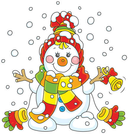 Funny snowman friendly smiling and ringing a small bell, wearing a colorful scarf, a cap and mittens