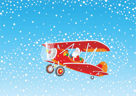 christmas background with santa claus flying his old wood airplane