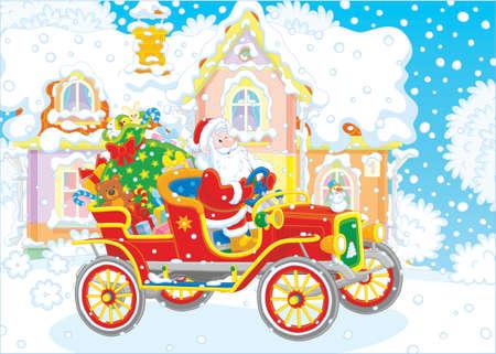 Babbo Natale alla guida della sua vecchia auto con un grande sacco di regali di Natale Vettoriali