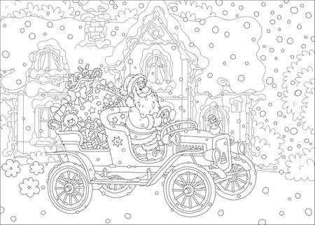 Santa Claus driving his old car with a big bag of Christmas gifts