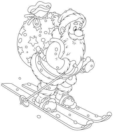 Święty Mikołaj na nartach w dół wzgórza śniegu z jego dużą torbę świątecznych prezentów