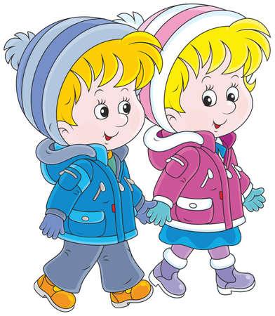 children walking Illustration