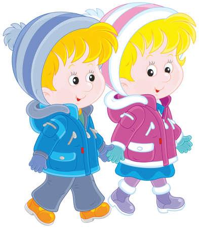 Small children walking