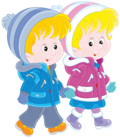 Small children walking Illustration