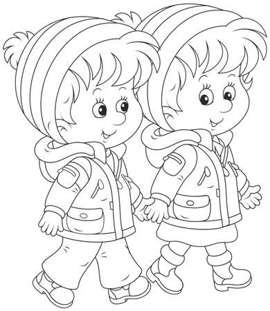 Friendly smiling children walking and talking together