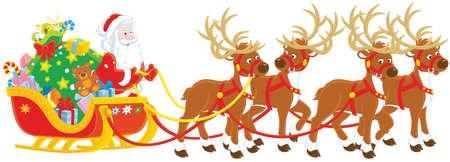 La notte prima di Natale, Babbo Natale con un grande sacco di regali di Natale nella sua slitta con renne di iniziare il viaggio magico intorno al mondo