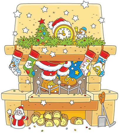 La notte prima di Natale, Babbo Natale con un sacchetto regalo spremitura attraverso la canna fumaria di un camino decorato
