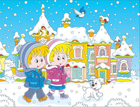 Children walking through a winter town