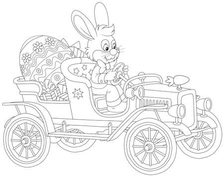 Lapin de Pâques au volant de sa voiture rétro avec un oeuf et des cadeaux peints grand
