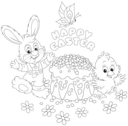 Easter card with a small bunny, a chick and a festively decorated cake