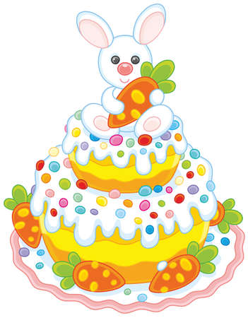 Festively decorated Easter cake with a small white bunny and carrots