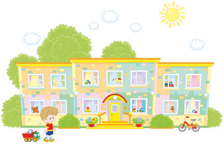 little boy going to his nursery school