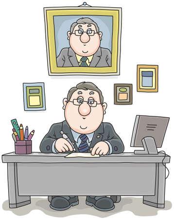 Hombre de negocios en su oficina en la mesa de trabajo con documentos Ilustración de vector