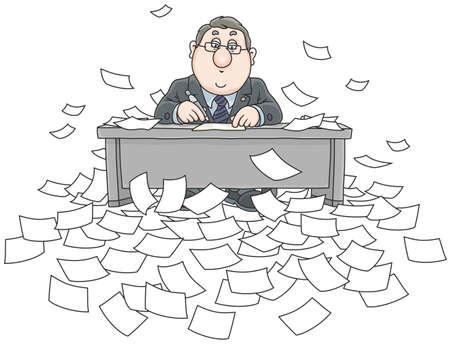 Clerk dans son bureau à la table en exécutant des documents