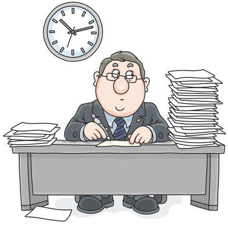 Angestellter am Tisch mit Dokumenten arbeiten Standard-Bild - 75335528