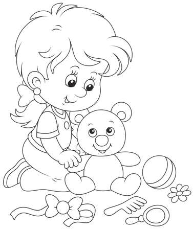 Little girl and Teddy bear Illustration