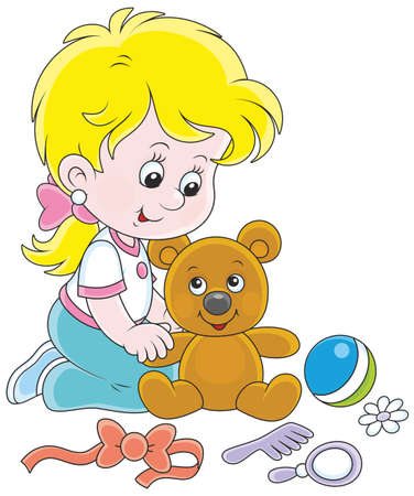 Little girl playing with her teddy bear Illustration