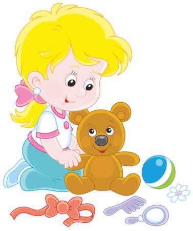Little girl and Teddy bear Illustration