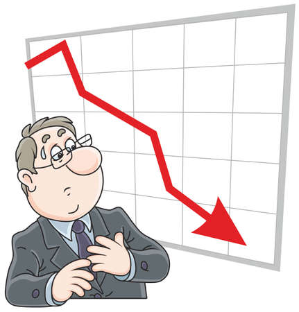 Trader looking at his chart with fallen indicators Ilustração