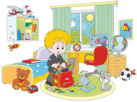 Colegial completando una mochila en su habitación Foto de archivo - 76274560