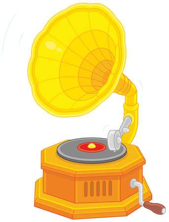 Old vintage gramophone Illustration