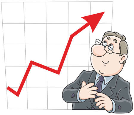 Businessman looking at his chart with growing indicators of business Illustration