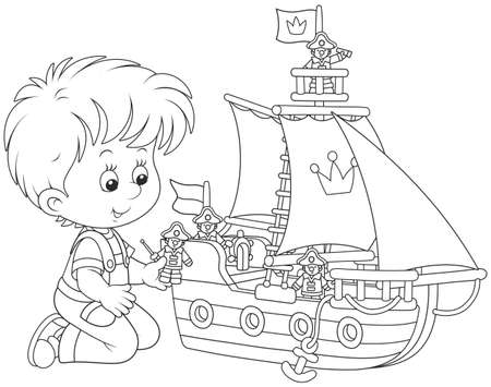 Little boy playing a toy sailing ship Vector Illustration