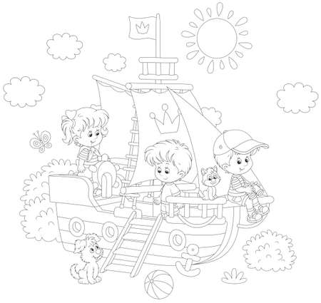 Little children playing on a playground in a park Stock Vector - 78455099