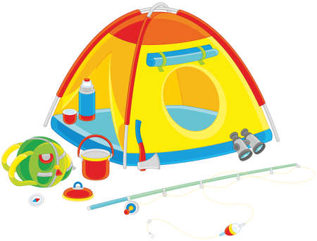Camping tent and other things for travel Illustration