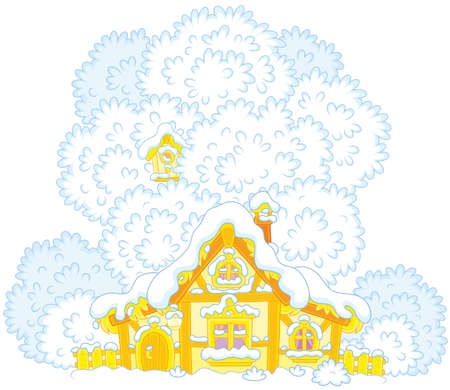Snow-covered small hut with a thatched roof on Christmas Illustration
