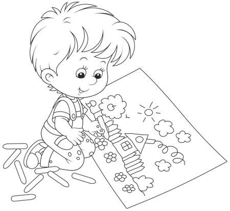 Little boy drawing with chalk a funny picture