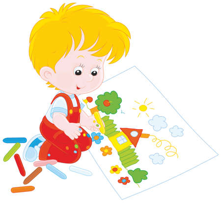 Boy drawing with chalk a funny picture Vector Illustration