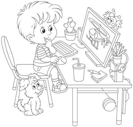 Little computer gamer Vector Illustration