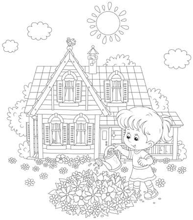 Little girl watering flowers on a flowerbed in front of her house Vector Illustration