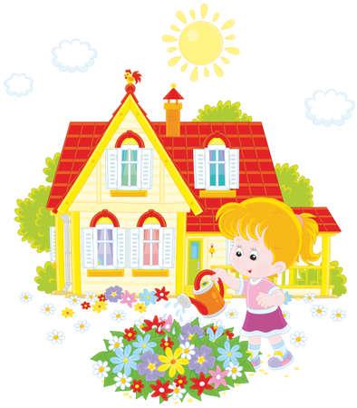 小さな女の子が彼女の家前の花壇に色とりどりの花に水をまく  イラスト・ベクター素材