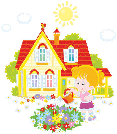 Little girl watering colorful flowers on a flowerbed in front of her house