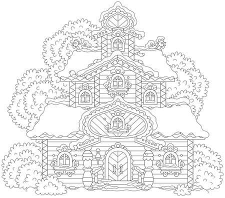 Torre di legno decorata coperta di neve sul Natale