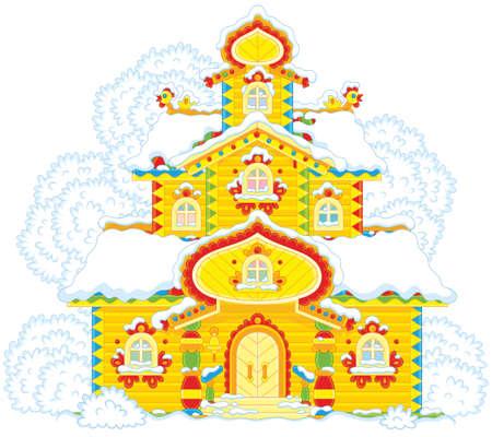 クリスマスに雪で覆われた木製の塔を華やかに飾り付けて