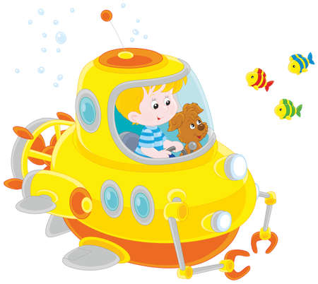 Toy deep sea bathyscaphe piloting by a little boy with his pup Vector Illustration