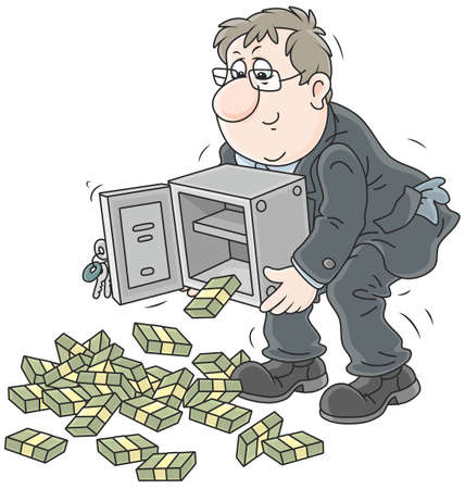 Businessman shaking money out of his safe