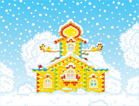 small wooden tower covered with snow on Christmas