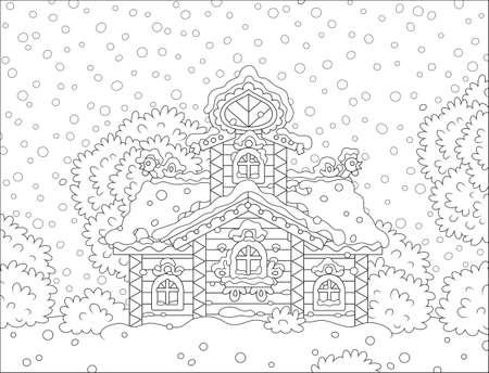 Torretta di legno coperta di neve sul Natale. Archivio Fotografico - 85584920